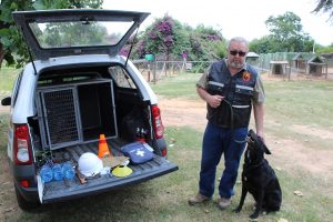 Explosives Detection Dog with Handler and Equipment